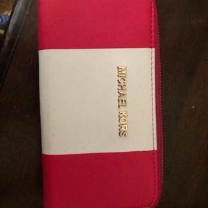 IMITATION Michael Kors pink/white stripe wallet